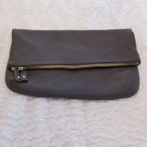 Talbots Dark Grey Leather Folded Envelope Clutch